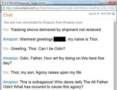 A Customer Complains To Amazon, The Resulting Conversation Is Awesome Banter    This customer ordered a book from Amazon and it didn't arrive through the post. Like you do in these situations he made them aware of the situation. He was connected to the online chat, and a customer service representative named Thor. The rest is just brilliant.