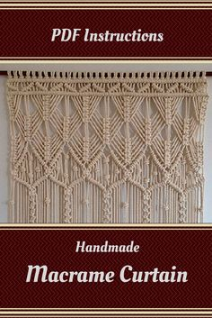 PDF Instructions Macrame Curtain. HANDMADE.Macrame wall hanging. (cotton 8mm) PDF pattern with instant download  US$ 14.95