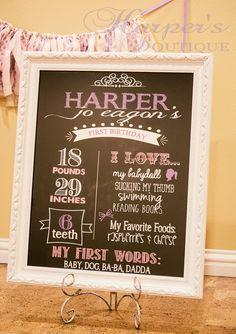 Personalized Birthday Stats Chalkboard by HarperJosBoutique, $19.00