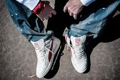 """#Puma #Becker #Leather OG #WhisperWhite #Sneakers, #Prps #P31P03AA """"Splattered"""" Barracuda #Jeans, and #GShock x #CLOT #DW6900CL4 #Watch"""