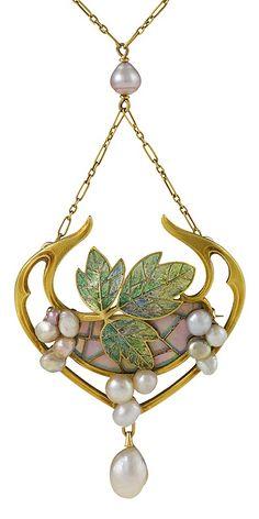 "Georges Fouquet - An Art Nouveau gold, plique-à-jour enamel, opal, freshwater and natural pearl pendant, French, circa 1900. Signed: ""G Fouquet"", French control marks."