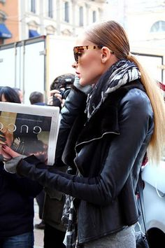 love this look - black and white scarf, sleek pony, leather jacket and tortoise shell sunglasses