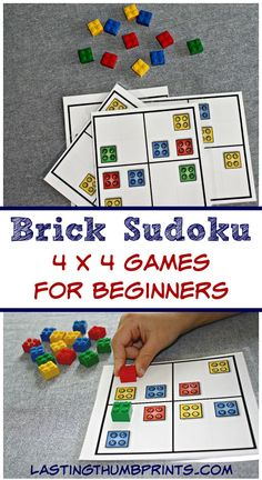These free brick sudoku games are perfect to keep little hands busy and minds growing! They can be used as worksheets or with your favorite bricks. Logic And Critical Thinking, Lego Therapy, Lego Activities, Homeschool Math, Homeschooling, Fun Learning, Legos, Worksheets, Mind Games For Kids