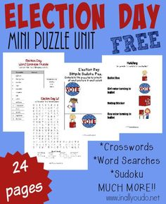 October always has an election. Whether city, state or national - there is an election. Use this FUN Election Day puzzle & Activity pack to help teach kids more about elections and their role in our country. FREE 24 pages :: www.inallyoudo.net