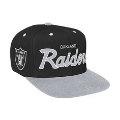 2825cd5c592 Mitchell   Ness Oakland Raiders 2 Tone Script Snapback Hat -... ( 25) ❤  liked on Polyvore featuring accessories