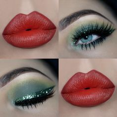 Classic green💚 & red❤️ Christmas look by How to get the look: Motives Eye Base Pressed Eyeshadows -Electric -Combat -Tripped Out Gel Eyeliner LBD Paint Pot Cha Ching Khol Eyeliner Bare Matte Lipstick in Irresistible Makeup Blog, Lip Makeup, Beauty Makeup, Makeup Ideas, Green Eyeshadow Look, Eyeshadow Looks, Christmas Hair, Christmas Makeup, Khol Eyeliner