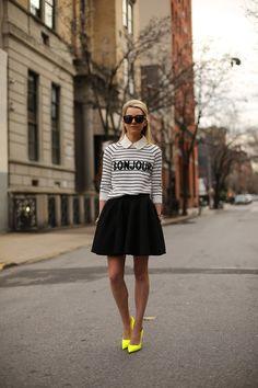 Sweater: ASOS. Collar: From a Milly Sweater. Skirt: Blaque Label. Shoes: Kate Spade. Sunglasses: Karen Walker Super Duper. Jewelry: Jcrew, David Yurman, Michele Watch, Stella and Dot.