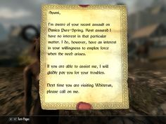 (I went a bit crazy in Whiterun killing everyone and got this from the courier that started a miscelanious quest. First time i'm ever seeing this) I think I'll try this then.
