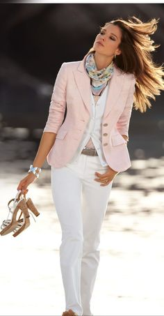 white outfit with pink coat