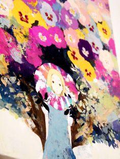 Alice in Wonderland, Chesire Cat and Flowers painting 不思議の国のアリスやチェシャ猫、お花の絵画 Design Festa