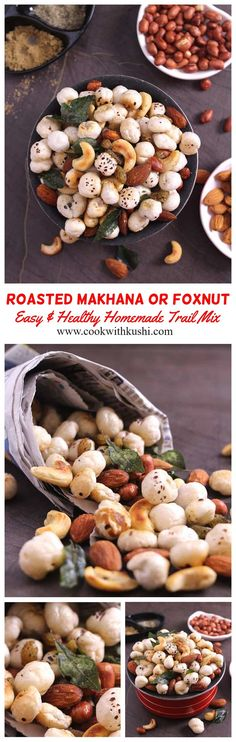This roasted makhana is a crispy and crunchy, healthy, and easy-to-make trail mix or snack prepared in less than 20 minutes. The roasted phool makhana recipe is vegan, vegetarian, and gluten-free too. Gluten Free Snacks, Healthy Snacks, Healthy Eating, Trail Mix Recipes, Snack Recipes, Chicken Snacks, Homemade Trail Mix, Vegetarian Recipes, Vegan Vegetarian