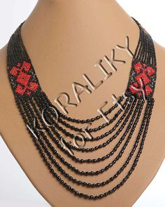 Traditional Ukrainian Folk Handmade Glass Beads Beaded door koraliky, $28.30