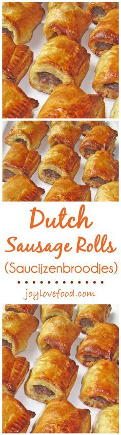 Dutch Sausage Rolls (Saucijzenbroodjes) – spiced meat rolled in puff pastry, a delicious appetizer or snack, perfect for the holiday season or anytime. I used turkey breakfast sausage links and cut the dough in 3 sections instead of 4 Meat Appetizers, Appetizers For Party, Appetizer Recipes, Party Snacks, Party Party, Dutch Recipes, Meat Recipes, Cooking Recipes, Ma Baker