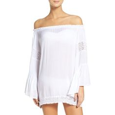 Women's Surf Gypsy Off The Shoulder Cover-Up Tunic ($54) ❤ liked on Polyvore featuring tops, tunics, white, white crochet top, white off the shoulder top, off the shoulder crochet top, off the shoulder tunic and crochet tunic
