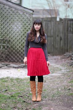 The perfect way to style a skirt in winter.