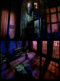 The (colorfully-lit) warehouse across the alley. Inferno (1980) written and  directed by Dario Argento, starring Irene Miracle, Leigh McClos...