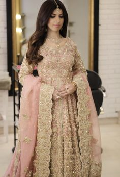 Decemberistan bridal season in full swing at the salon😍 this beauty has her Valima in the afternoon hence we went with a soft metallic eye… Walima Dress, Pakistani Wedding Dresses, Pakistani Bridal, Indian Dresses, Party Wear Dresses, Bridal Dresses, Formal Dresses, Indian Wedding Fashion, Engagement Dresses