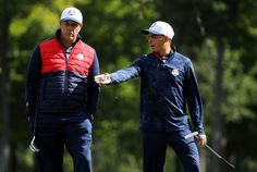 Rickie Fowler Photos Photos - Phil Mickelson and Rickie Fowler of the United States practice prior to the 2016 Ryder Cup at Hazeltine National Golf Club on September 27, 2016 in Chaska, Minnesota. - 2016 Ryder Cup - Previews