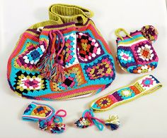 Crochet shoulder #bag, Small cosmetic bag, Bracelet, Headband, Crochet set, Boho hippie accessorie, Bright summer accessories - TIME OF FLOWERS  *** All things are hand made... #leather #handmade #native #knitting #crocheting #cotton #looseknit #handknit ➡️ http://jto.li/axc4W