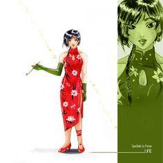 Aquarelle. Femme en robe chinoise.