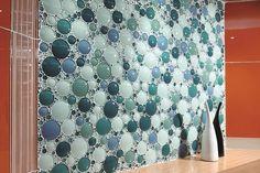Planning Ideas Bubble Tile Backsplash With Table Decoration