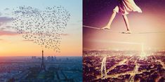 birds flying over eiffel tower (paris) forming heart, and girl walking tightrope over city, photos by nois7