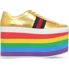 Gucci Peggy rainbow leather platform trainers ($675) ❤ liked on Polyvore featuring shoes, sneakers, leather shoes, gucci trainers, gucci sneakers, leather lace up sneakers and high heel platform shoes