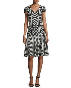 B38GN St. John Collection Geometric-Lines Knit V-Neck Dress, Caviar/Sahara