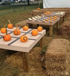 Pumpkin tick-tac-toe and pumpkin checkers. Perfect for a fall party. Love, love, LOVE!!!