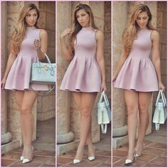 Short short mini dress with bare legs. The wind might lift her dress. If she went up the stairs you could see up underneath Sexy Outfits, Sexy Dresses, Cute Dresses, Beautiful Dresses, Dress Outfits, Short Dresses, Dress Up, Cute Outfits, Fashion Outfits