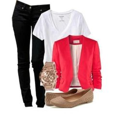 black jeans, white (v neck) shirt, salmon blazer and nude flats