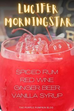 The Lucifer Morningstar Cocktail is the perfect adult-only refreshment at your Halloween gathering. The red drink is a twist on the classic Dark & Stormy cocktail and created by combining spiced rum, red wine, and ginger beer. It's devilishly delicious!