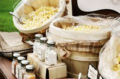 Updated CHALKBOARD POPCORN BAR  can be seen HERE!   Well it's about time I posted the full details from the Rustic Popcorn Bar  I created ...