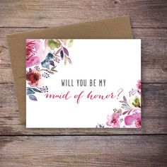 Printable Will You Be My Maid of Honor Card by LarissaKayDesigns