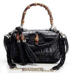 2ab58fb906c Gucci Bamboo Black Crocodile Veins Leather Large Top Handle Bag Hermes  Bags