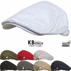 Solid Cotton Gatsby Cap Mens Ivy Hat Golf Driving Summer Sun Flat Cabbie Newsboy #KBETHOS #NewsboyCabbie