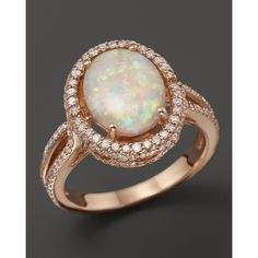 Opal and Diamond Halo Ring in 14K Rose Gold and other apparel, accessories and trends. Browse and shop 2 related looks.