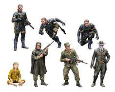 Pack 7 figuras 5 cm Metal Gear Solid V. Plastic Model Kit. Kotobukiya Estupendo pack compuesto de hasta 7 figuras de 5 cm con gran cantidad de armas y accesorios perteneciente al videojuego Metal Gear Solid V, 100% oficial y licenciado con el que tienes la diversión asegurada.