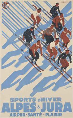 Eric de Coulon (1888-1956) ALPES & JURA lithograph in colours, 1935, printed by Le Novateur, Paris, condition A; backed on linen 39½ x 24½in. (101 x 62cm.)
