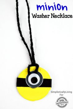Super cute DIY Minion necklace made from a washer.
