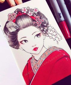 Day 5 ー ー I drew breeze many times before and always showed how the wind blows the girl`s hair. This time I chose to do a pretty maiko, whose hair is firmly tied, and show the breeze subtly on her accessories 😊 I hope you like it! Japanese Art, Drawings, Art, Creative Drawing, Cute Drawings, Pretty Art, Anime Drawings, Geisha Art, Copic Art