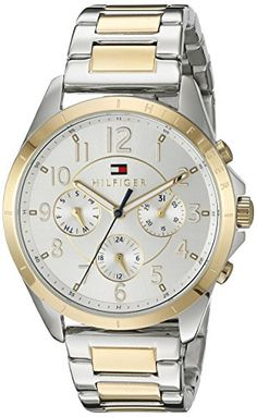 Tommy Hilfiger Womens 1781607 Casual Sport Analog Display Quartz Two Tone Watch -- To view further for this item, visit the image link.