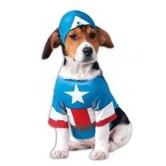 Your pet can be the hero of the party with the officially licensed Captain America Pet Costume by Rubie's! Lightweight and comfortable, this outfit features a shirt and a headpiece that is desi. Capitan America Marvel, Captain America Suit, Pet Costumes, Pet Clothes, Tigger, Cheerleading, Pet Dogs, Your Pet, Hero