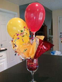 Balloon centerpiece.  These were so much fun to make.  I had to order balloon sticks.  Couldn't locate them at any craft or party stores.