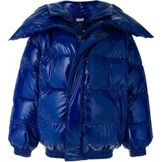Vetements Miss Webcam Quilted Vinyl Jacket ($4,980) ❤ liked on Polyvore featuring outerwear, jackets, blue, puffer jacket, vetements jacket, blue jackets, puffy jacket and oversized padded coat