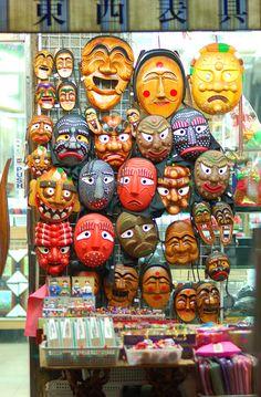 Korean masks for sale Insadong, Seoul, Korea. Korean Traditional, Traditional Art, South Korea Travel, Hongdae, Masks For Sale, Korean Art, Korea Fashion, Seoul Korea, Street Art