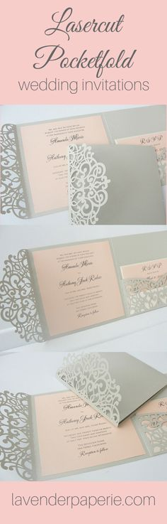 Laser Cut Pocketfold Wedding Invitations!