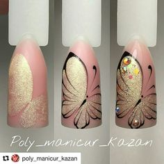 23 Butterfly nail art - nails - Lilly is Love Butterfly Nail Designs, Butterfly Nail Art, Nail Art Designs, Gel Polish Designs, Diy Nails, Cute Nails, Pretty Nails, Manicure Steps, Nail Nail