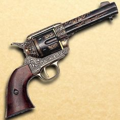 This dazzling non-firing replica gun reproduction takes you back to the era of Wyatt Earp, fancy well-heeled gamblers, and epic western gunfights. Fancy filigree adorns the frame, barrel and cylinder. The authentic wooden grip is as comfortable as an old friend's handshake. Popular during the Civil War on both sides of the Mason-Dixon line. #dummygun #replicagun