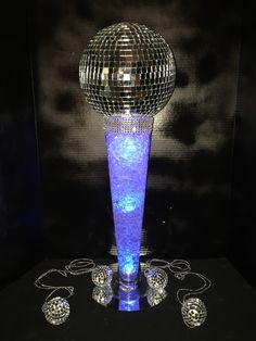 Disco Ball Centerpiece with blue LED light Events by Ms. Disco Theme Parties, Disco Party Decorations, Disco Birthday Party, 70s Party, Retro Party, Party Centerpieces, 55th Birthday, Motown Party, Disco Ball